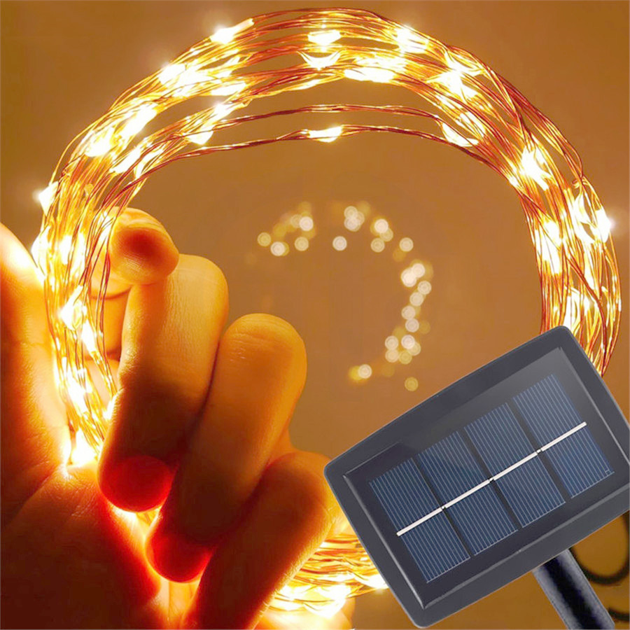 15m 150 Solar Powered Led Copper Wire String Lights
