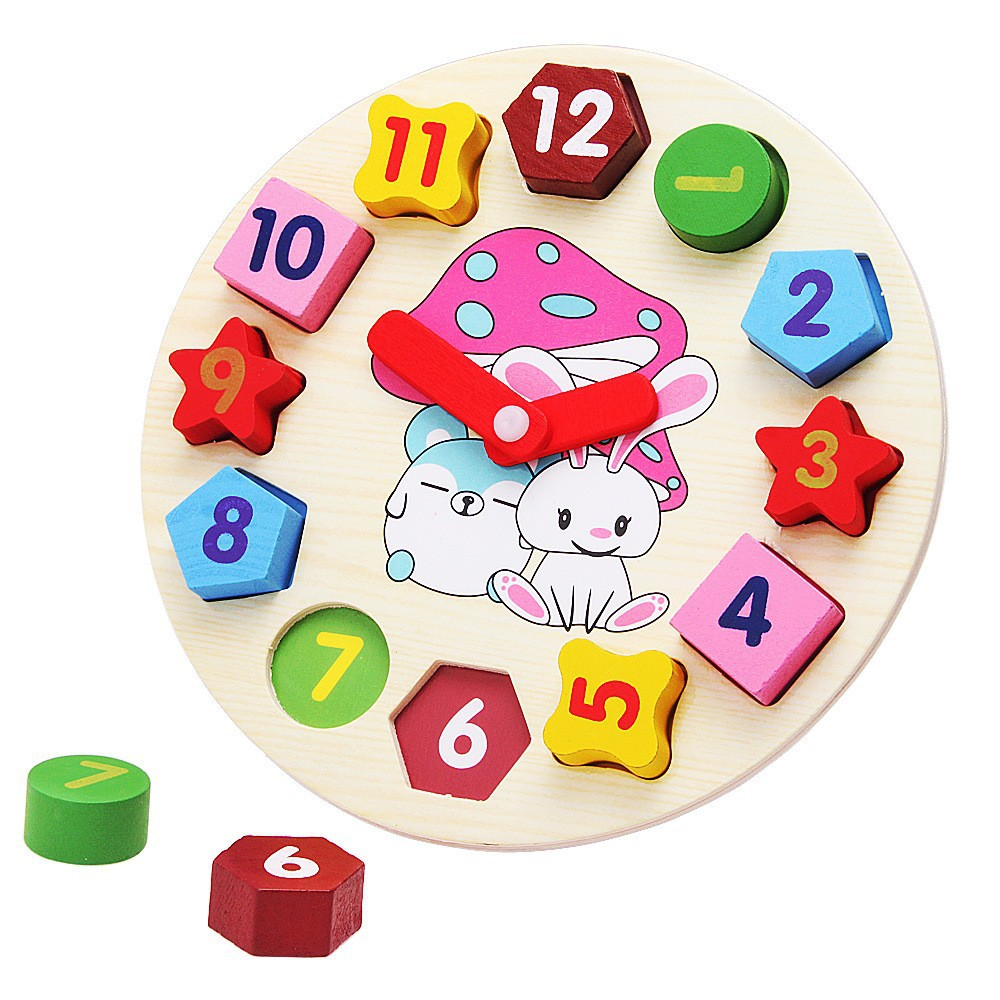 Wooden blocks toys Digital Geometry Clock Children's Educational toy for baby boy and girl gift goki wooden traditional toys clock bears mini bead frames floating ball press and shake figures top with pull out string