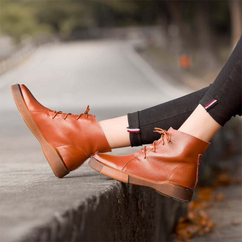 2017 Women Shoes Female Genuine Leather Boots Handmade Vintage Literary Style Ankle Lace-Up Fashion boots for women 5653-2 front lace up casual ankle boots autumn vintage brown new booties flat genuine leather suede shoes round toe fall female fashion