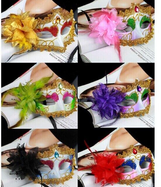 5PCS / LOT malba posypaná vrtacími víčky boční květ dámská módní párty maska visící dekorace P0009