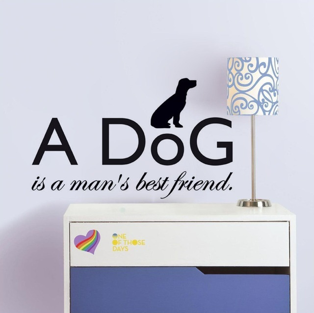 A Dog Is A Man's Best Friend Wall Quote Decal Home Animal Decor