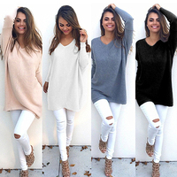 Women Pure Color Loose Casual V Neck Long Sleeve Pullover Dress Top Blouse Sweater