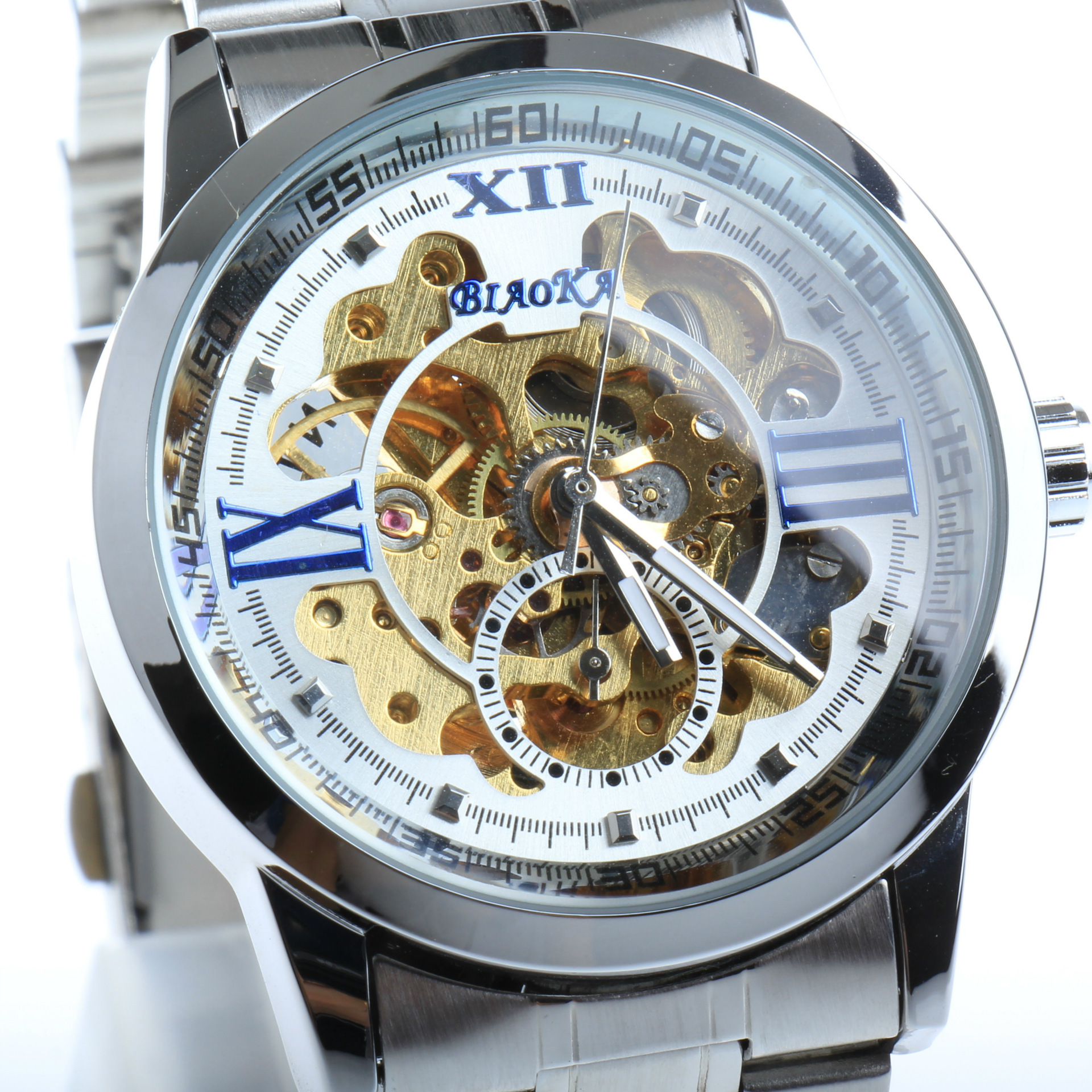 2016 New carved hollow machine 4 pin automatic mechanical watch 30m waterproof watch skeleton vintage watchskeleton