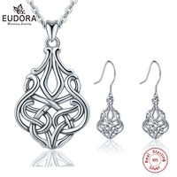 EUDORA New 925 Sterling Silver Celtics Knot Unique Jewelry Set Pendant Necklace Drop Earring Fine Jewelry For Women E40D201