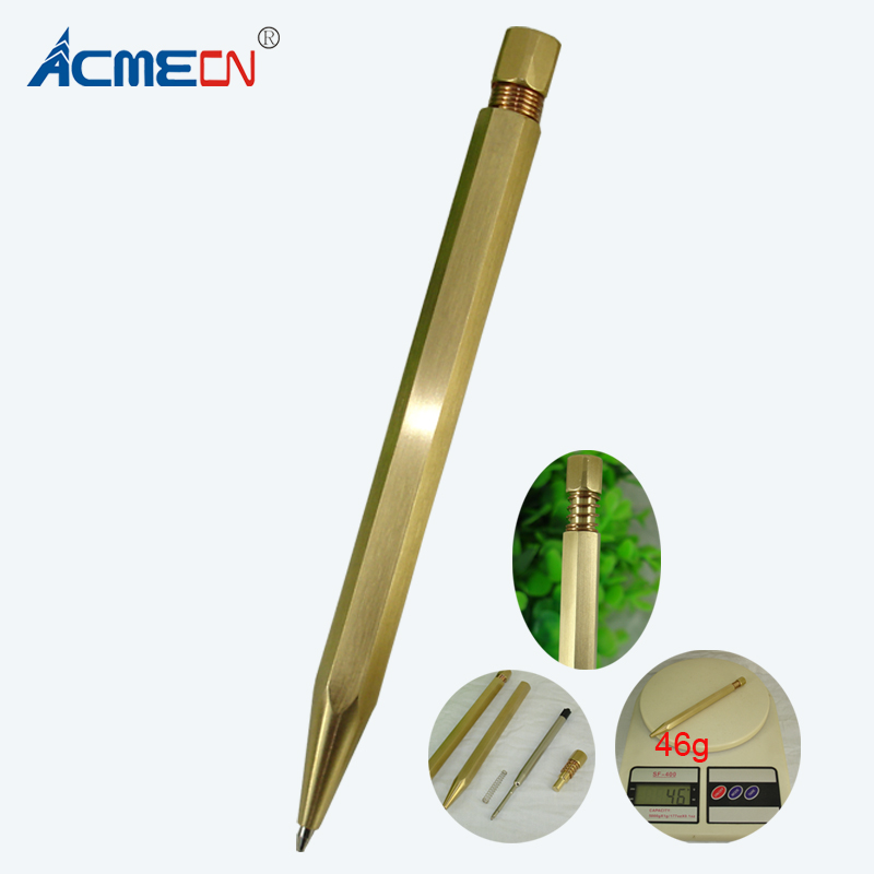ACMECN Newest 46g Brass Pen with Hexagon Design Twist retractable Ballpoint Pen Office Writing Instrument Craft Stationeries 46g flock