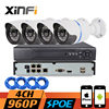 XINFI 4CH POE CCTV System 4ch POE NVR Recorder 4 Channel HD 960P POE IP Camera