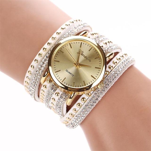 New luxury brand Casual Women's Watches PU Leather Korean Crystal Rivet Bracelet