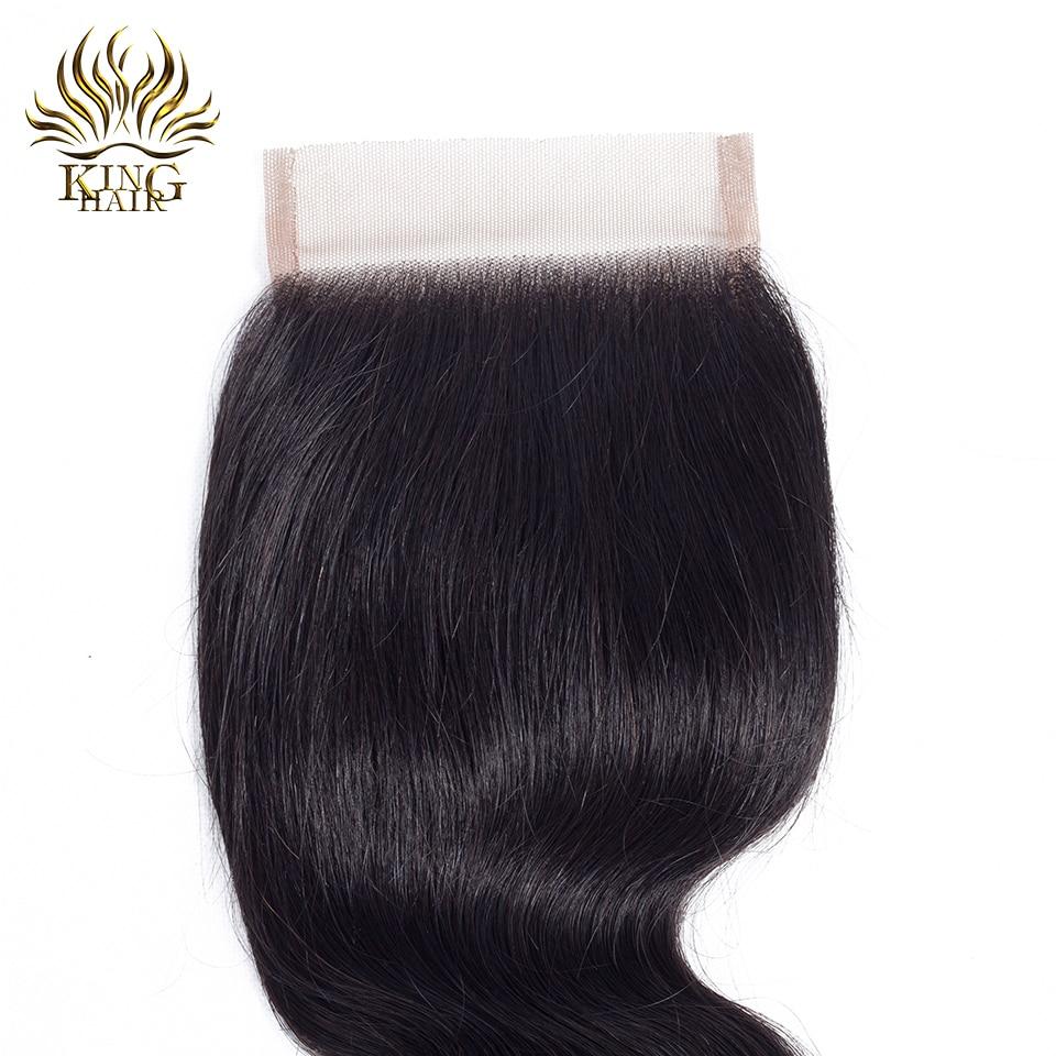 킹 헤어 레이스 클로저 브라질 바디 웨이브 레미 - 인간의 머리카락 (검은 색) - 사진 3