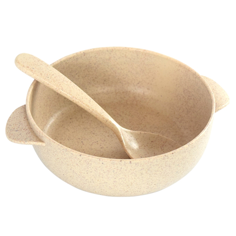 Baby Feeding Four-color Wheat Degradable Safe Children's Bowl Kitchen Straw Send Cutlery Set Spoon