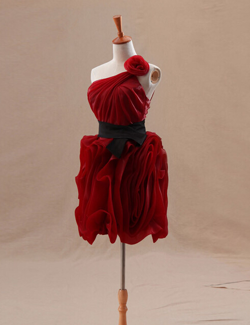 elegant red short   cocktail     dresses   2019 one shoulder coctail   dress   pleat organza simple prom party gown robe de soiree