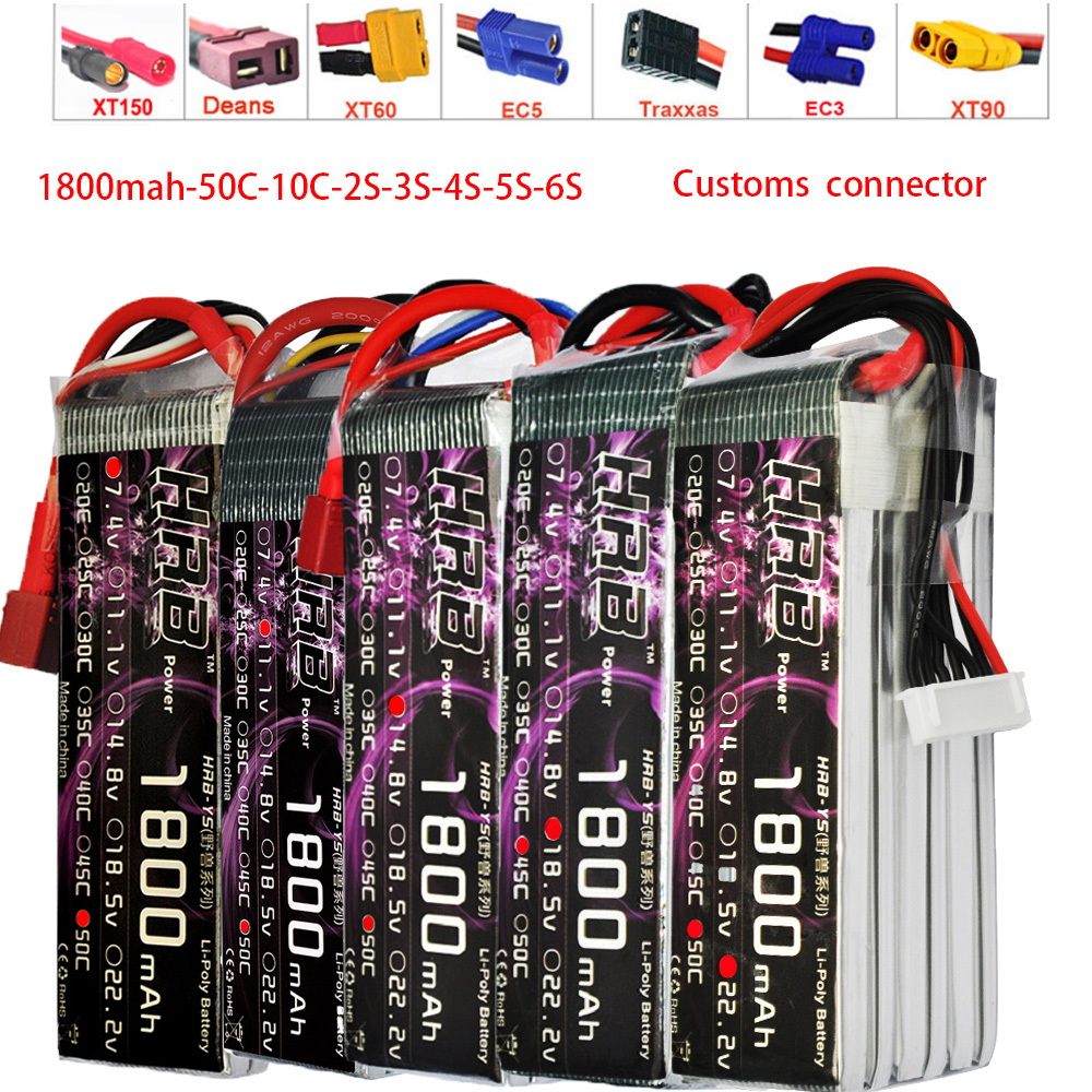 HRB RC Lipo Battery 3.7V 7.4V 11.1V 14.8V 18.5V 22.2V 1S 2S 3S 4S 5S 6S 1800mAh 50C 100C For Helicopter Trex 450 Airplane Boat image