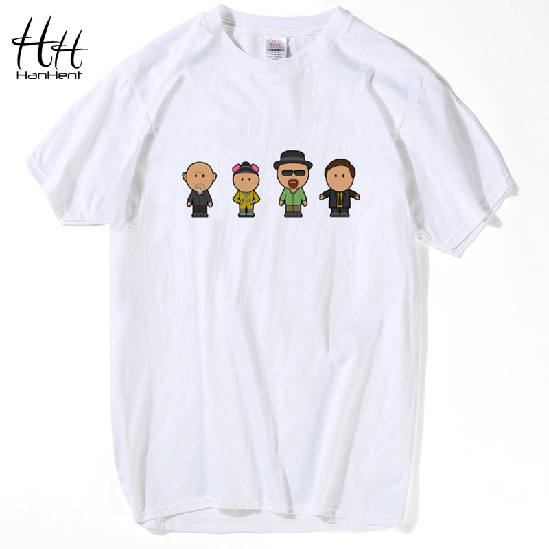 HanHent Breaking Bad Fashion T-Shirt Cartoon Short sleeve Heisenberg Cotton T Shirt Black Loose Funny Lovers Designer shirt