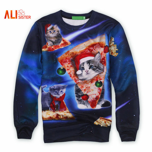 2b1082ff Alisister Space Galaxy Sweatshirt Fashion Women/men Cat/pizza Hoodies  Printed Meowy Christmas Crewneck Sweatshirt 3d Sweat Shirt