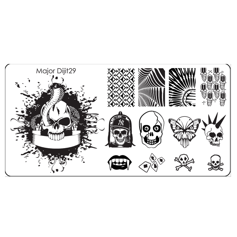 Hallowmas Theme Snake King Skull Nail Art Stamp Stamping Template ...