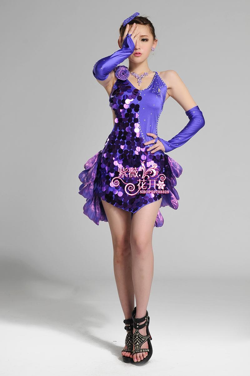 Sequin style Latin Dance Dress font b Women b font Girls Lady Cha Cha Rumba Samba