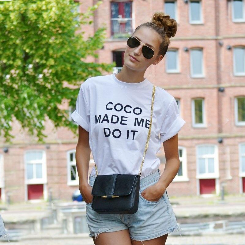 NiceMix 2017 Summer Cotton T-shirt Harajuku Tops Plus Si T Shirt Women Print Coco Made Me Do It O-Neck Tee Shirt Femme