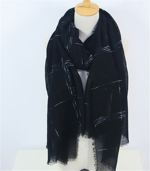 large size 100%cashmere women fashion plaid thin scarfs shawl pashmina 95x210cm grey 3color