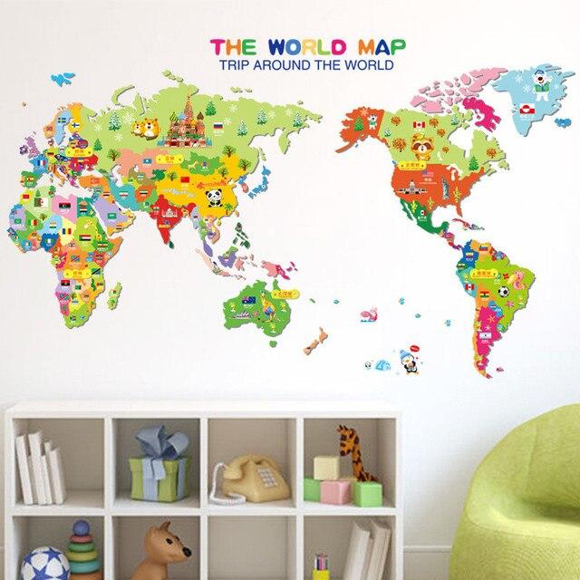 US $3.98 |50*70 cm cartoon tier weltkarte aufkleber für kinderzimmer  kindergarten reisen karte wandtattoos Home Dekoration Zubehör in 50*70 cm  ...