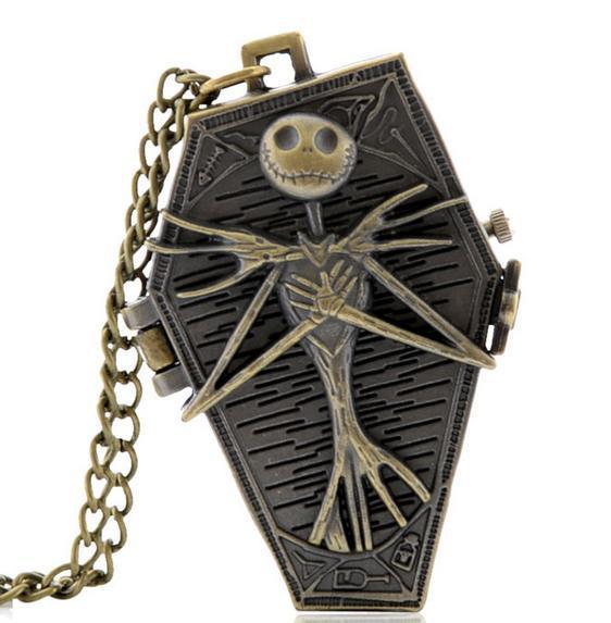 Vintage Bronze The Nightmare Before Christmas Quartz Pocket Watch Necklace Woman Kids Best Gift