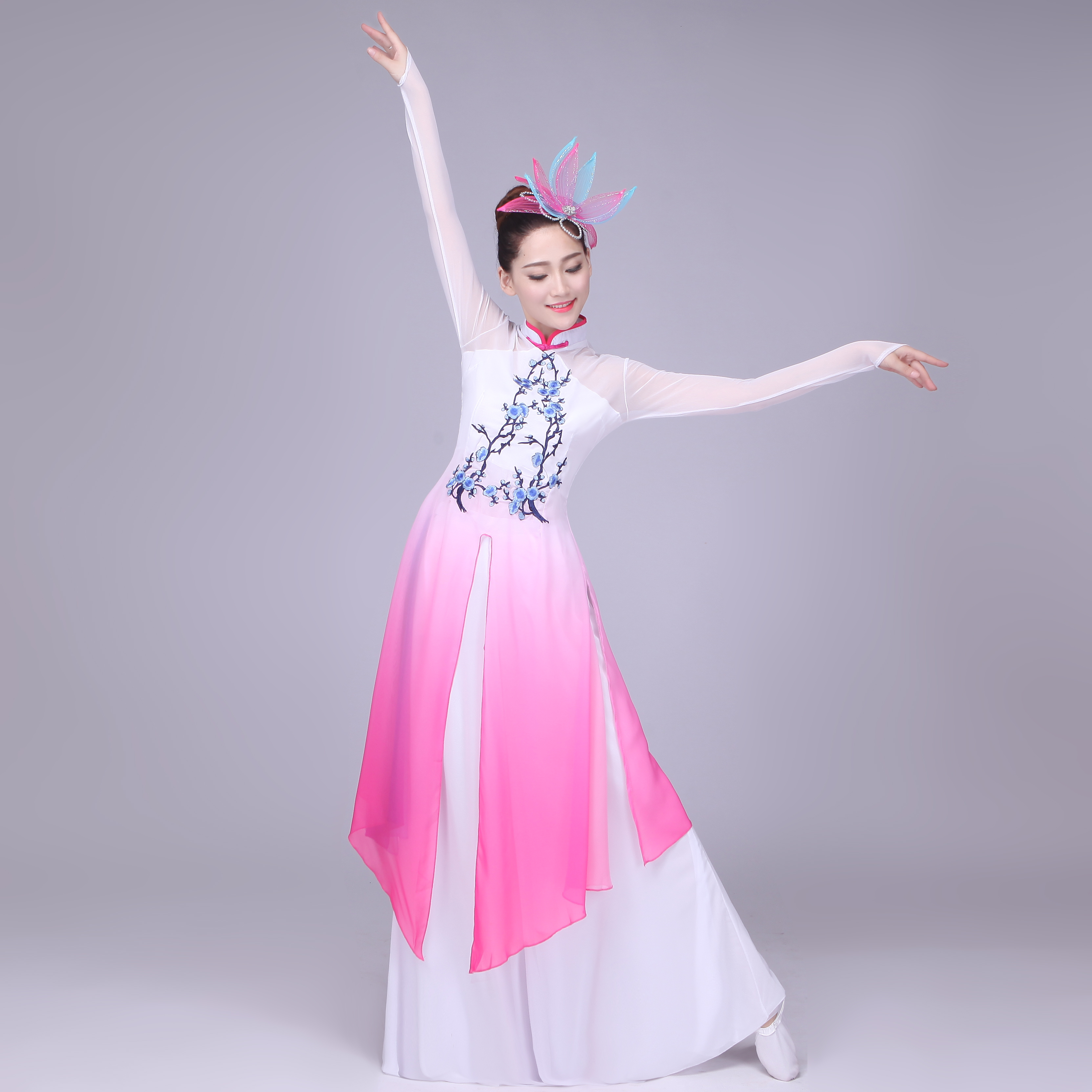 Women fuchsia gradient color Chinese Ancient Costume classical ...
