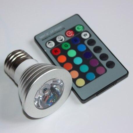 Bombilla RGB MR16/E27/GU10 foco LED 4W bombillas LED AC110 245V 24 teclas luces remotas IR para Bar en casa iluminación de fiesta lámpara LED RGB - 4