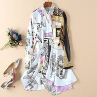 1102 3 66 2019 Spring High Quality Fashion Designer Runway Women Lapel Scarf Long Sleeve Flower + Human Head Print Casual Dress