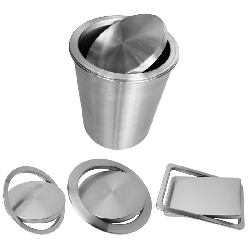 Stainless Steel Flush Recessed Built-in Balance Swing Flap Lid Cover Trash Bin Garbage Can Kitchen Counter Top