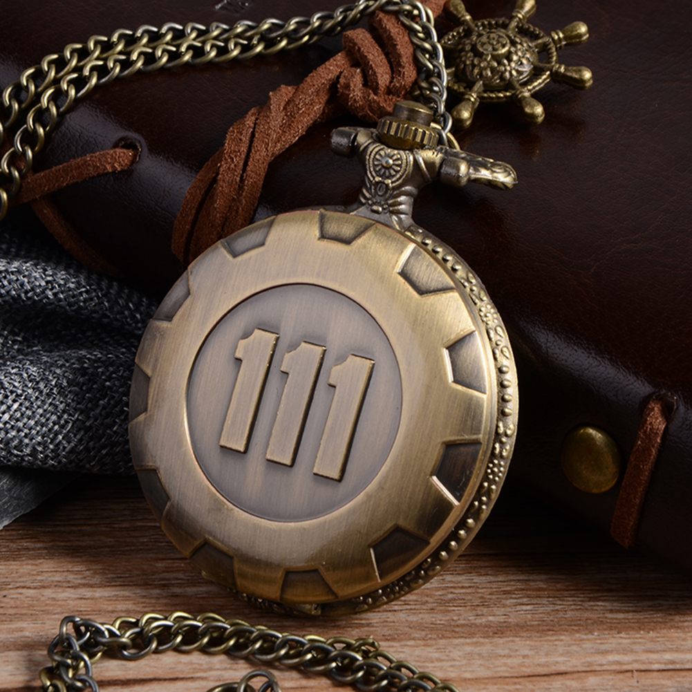 Cindiry Vintage Fashion Quartz Pocket Watch Silver Gold Game Fallout 4 Vault 111 Steampunk Women Man Necklace Pendant with Chai cindiry vintage silver charming gold train carved openable hollow steampunk quartz pocket watch men women necklace pendant clock
