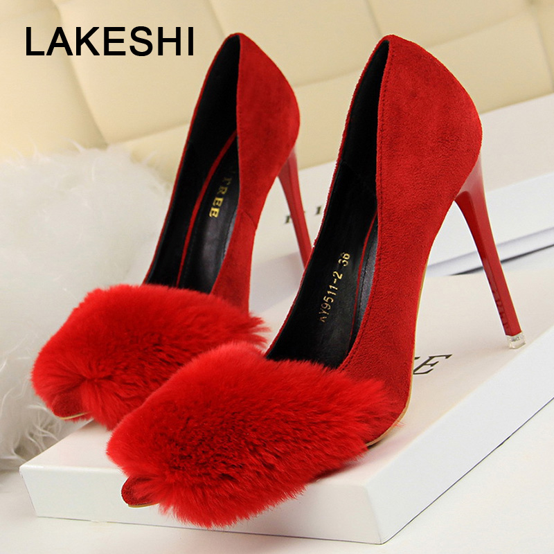 Women Pumps Fashion Fur High Heels Shoes Women Classic Pumps Bigtree Shoes Female Bridal Shoes Chaussure Femme big toe sandal