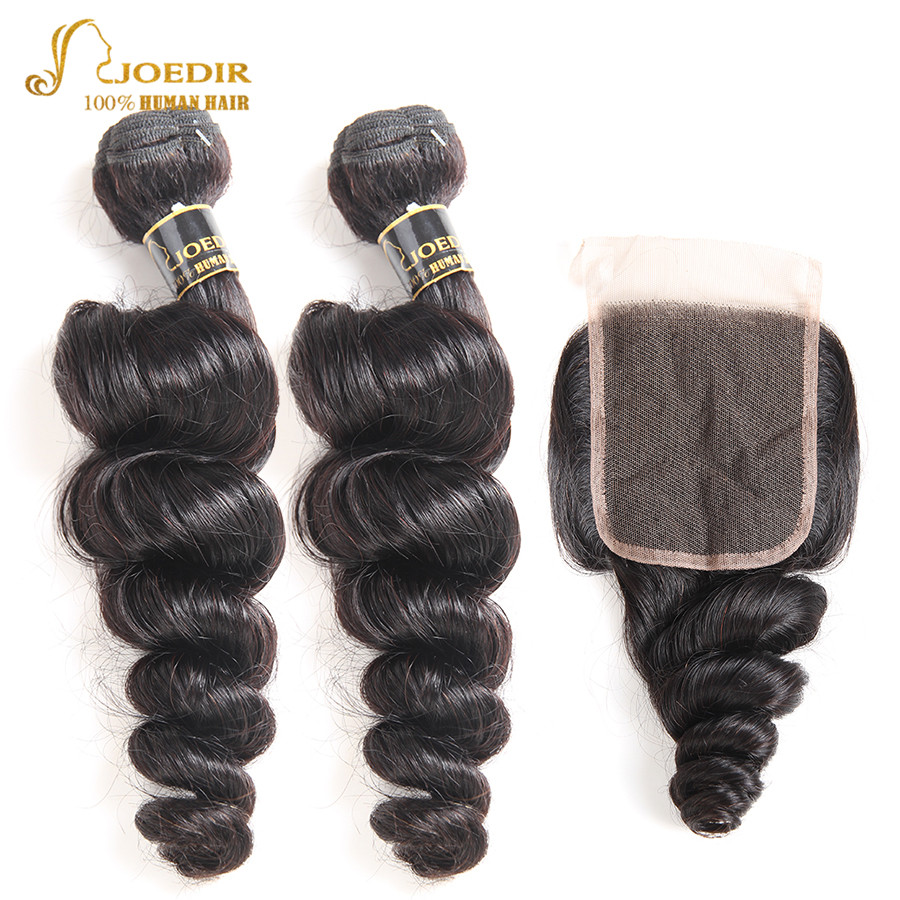 Joedir Brazilian Loose Wave Bundles With Closure 100% Human Hair Weave Bundles With Closure 2 Bundles With Closure Non Remy