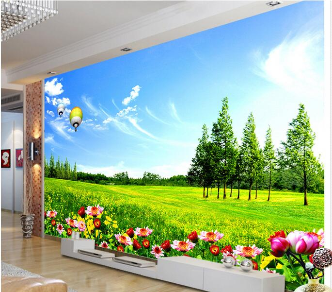 Achetez En Gros Bleu Blanc Fleurs Photo Papier Peint En