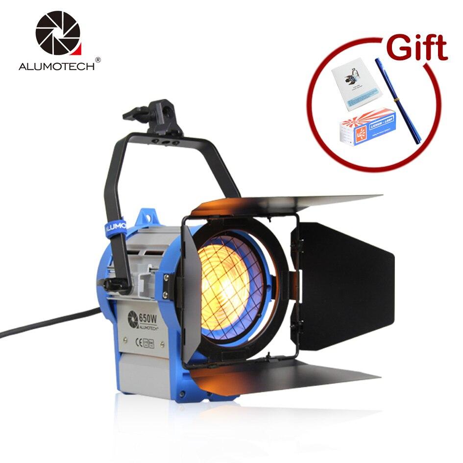 ALUMOTECH Френеля Вольфрам фототехника студийный видео свет 650 Вт для Камера Совместимость + лампа + шторки Бесплатная доставка