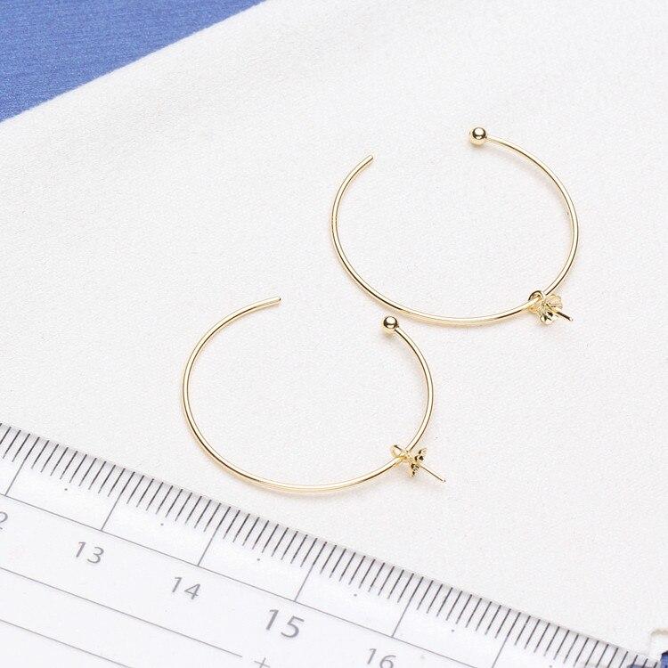 Luxus echtem 18 karat gold schmuck für frauen top qualität gelb gold ohrringe Fit Hälfte Loch Perle DIY Zubehör
