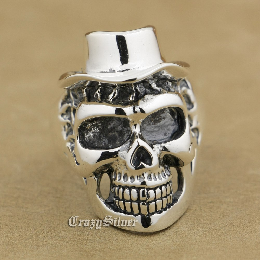 925 Sterling Silver Skull Hat Mens Biker Rocker Punk Ring 9W004 US Size 8 to 14 r003 skull shaped titanium steel ring black silver us size 8