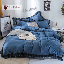 Liv-Esthete Luxury Beauty Blue Bedding Set For Girl Gift Lace Soft Duvet Cover Flat Sheet Bedclothe Double Queen King Bed Linen