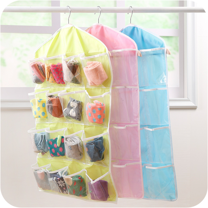 2019 Organizer Foldable 16 grid Storage Bag Hanging Bag Underwear Panties Socks Hanging Organizador Consolidation Home Supplies-in Hanging Organizers from Home & Garden