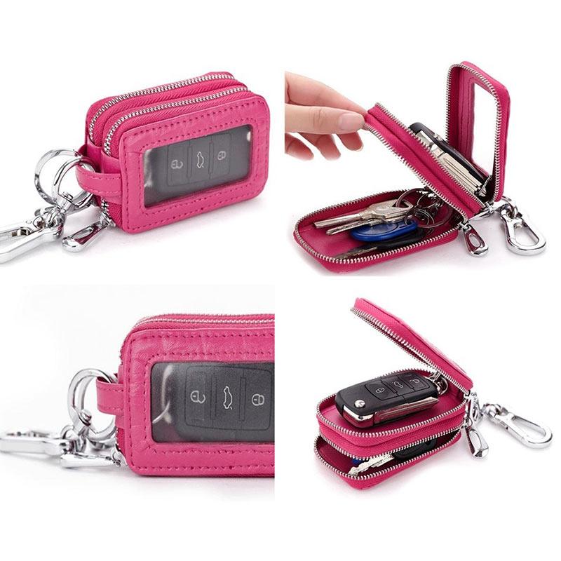 Carkey Double Zippers Women Men's Multi-functionl Genuine Leather Bag Key Holder Keyrings Change Coin Purse Wallet -OPK
