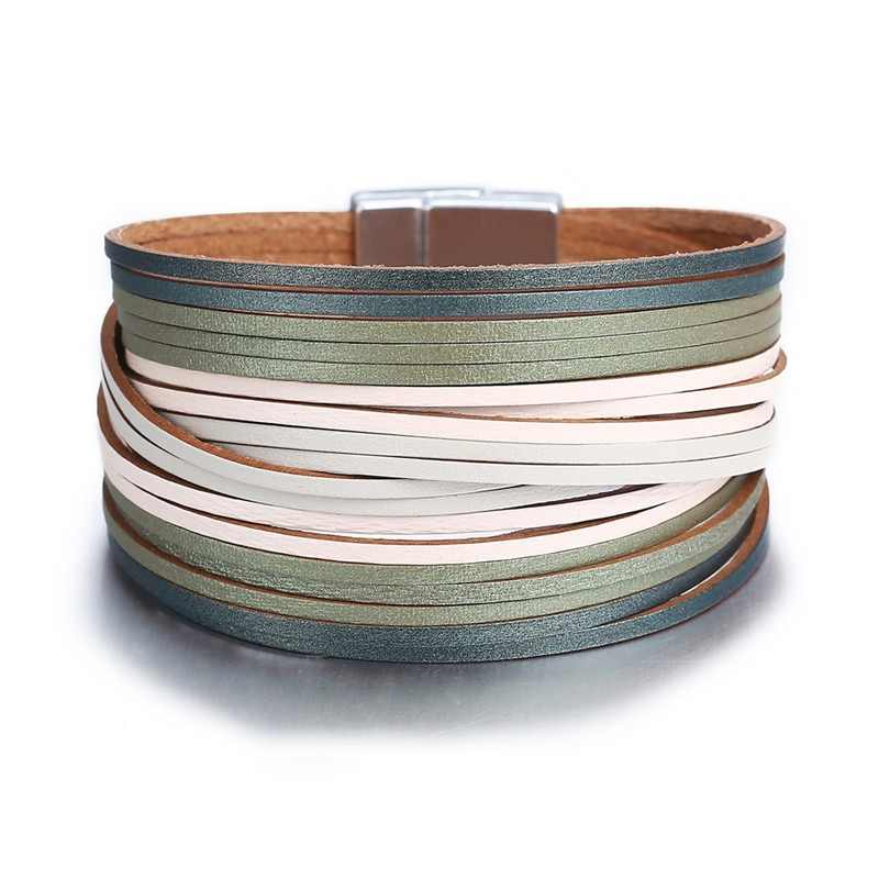 17KM 3 Color Fashion Leather Wrap Bracelet For Women Men Multiple Layers Charm Bracelets Couples Pulsera Mujer Basics Jewelry
