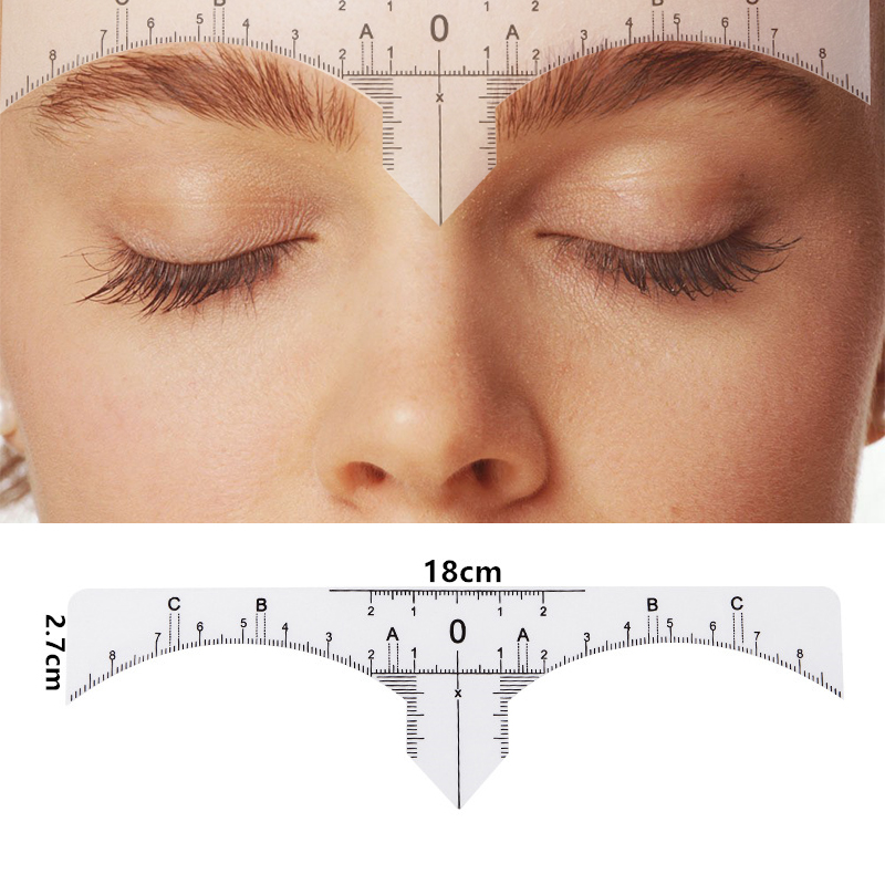 10PC Reusable Semi Permanent Eyebrow RulerMicroblading Calliper Stencil Makeup Eye Brow Measure Tool Eyebrow Guide Ruler