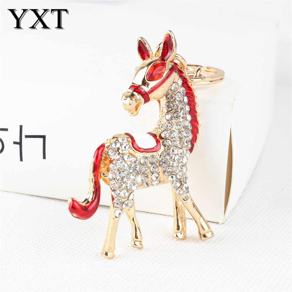 Đáng yêu Con Ngựa Màu Đỏ New Dễ Thương Pha Lê Quyến Rũ Ví Túi Xách Chìa Khóa Xe Keyring Keychain Đảng Cưới Sinh Nhật Sáng Tạo Món Quà Tốt