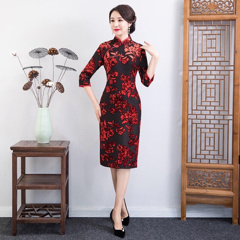 Vestito Vestido Della 2019 Modo 1 Da Stile Di style Cheongsam Partito Del Primavera 2 Lunghezza S Signora Style Qipao Ginocchio Vestiti Donne Sottile Cinese Pulsante 3xl Delle xRTYq0x