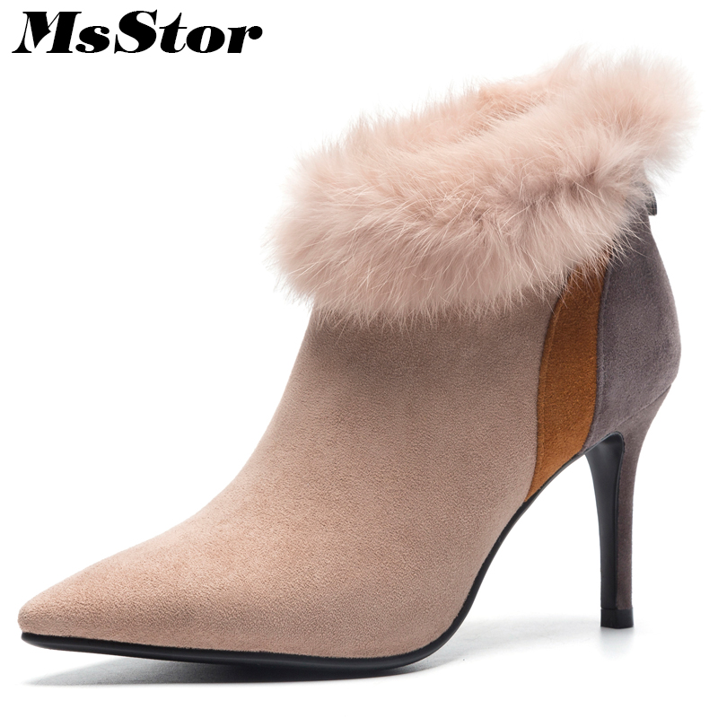 MsStor Pointed Toe Thin Heels Women Boots Fashion Zipper Fur Ankle Boots Women Winter Shoes Zipper High Heel Boot Shoes For Girl perixir shoes for women ankle boots lycra pointed toe zipper fashion thin high heels boots black green beige 35 42