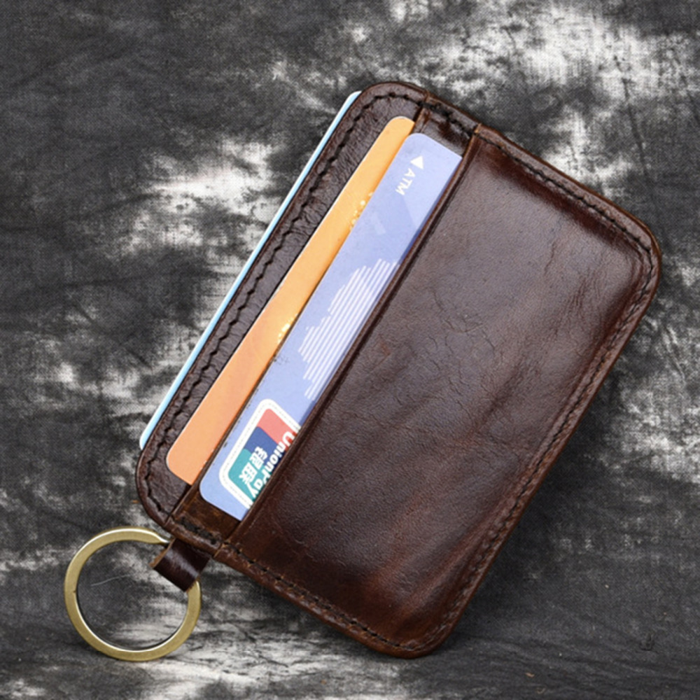 Genuine Leather Men Clips Wallets Pocket Credit/ID Card Case Holder Slim Mini Natural Cowhide Male Coin Keychain Money Purse New
