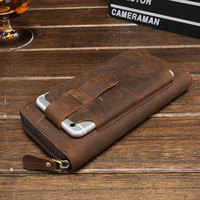 2018 Luxury Brand 100% Top Cowhide Wallet Men Real Genuine Leather Wallets Cell Phone Bag Multifunction Male Clutch Long Purse