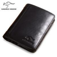 KANGAROO KINGDOM vintage men wallets genuine leather short design casual men pocket card holder wallet purse