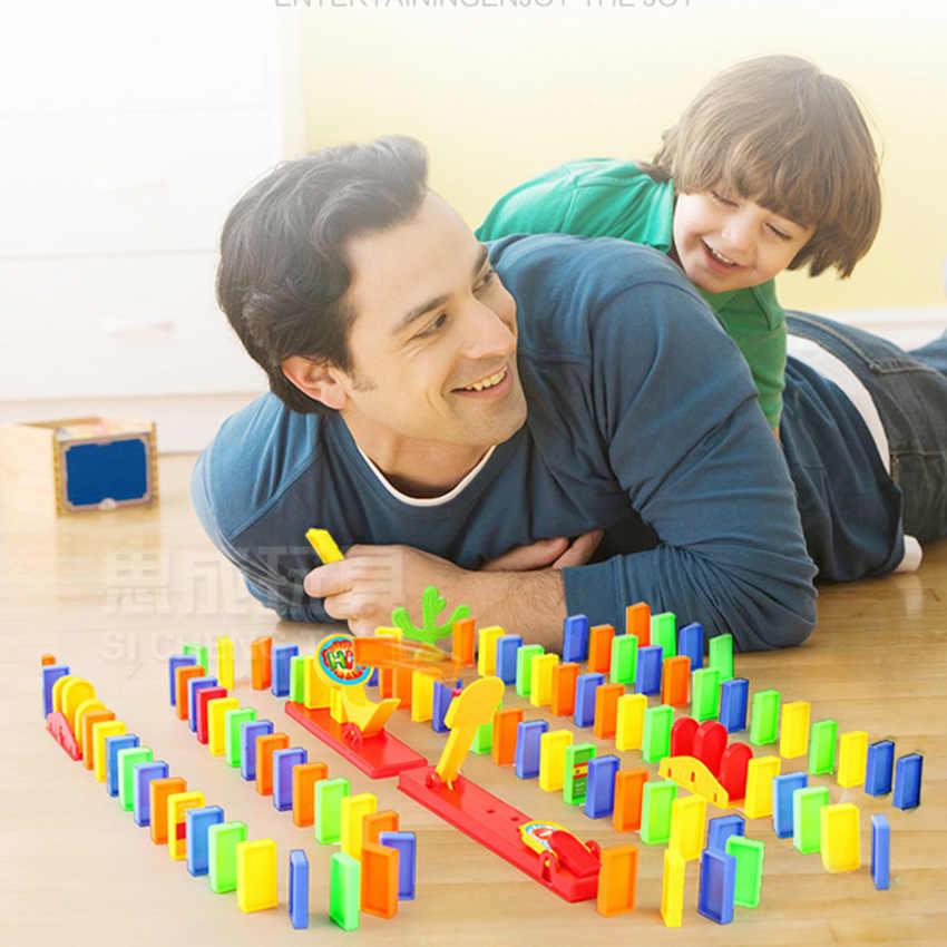 Домино набор поездов набор «Катапульта» головоломка образовательная 120/60 шт Пластиковые костяшки домино кирпич DIY Звук Свет игрушка подарок для мальчиков и девочек