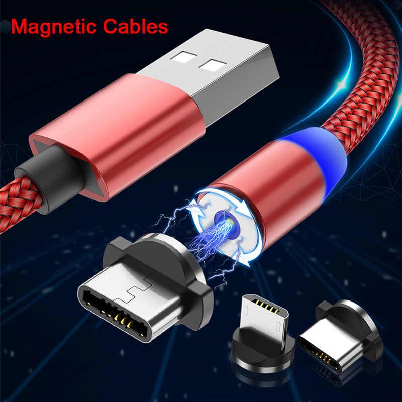 سلك البيانات كابلات الهاتف ل نوع-C الروبوت المصغّر USB كابل شحن USB كابل مغناطيسي ل فون البرق سريع سريع شاحن