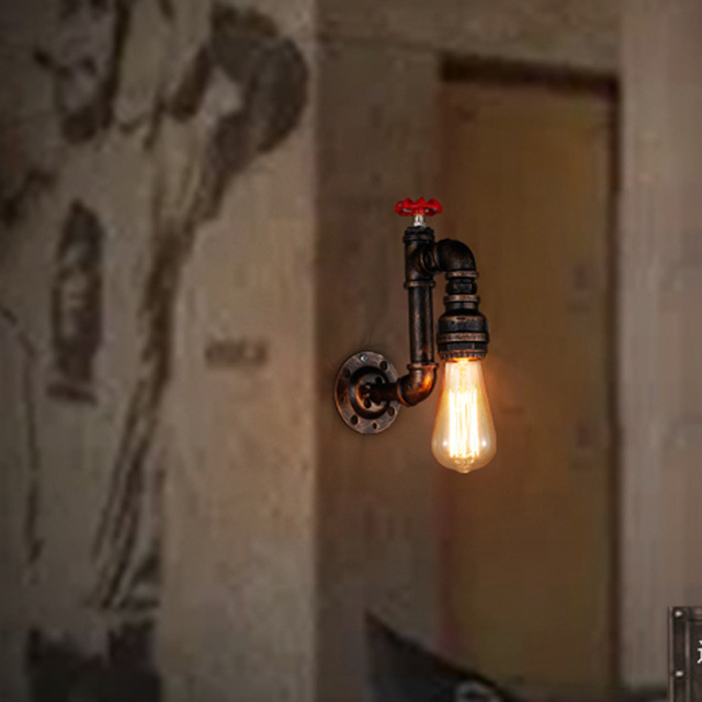 Industrial Lighting Retro Light Aisle Stairs Corridor Balcony Wall Lamps American Restaurant Bar Iron Pipe Wall Sconce B033