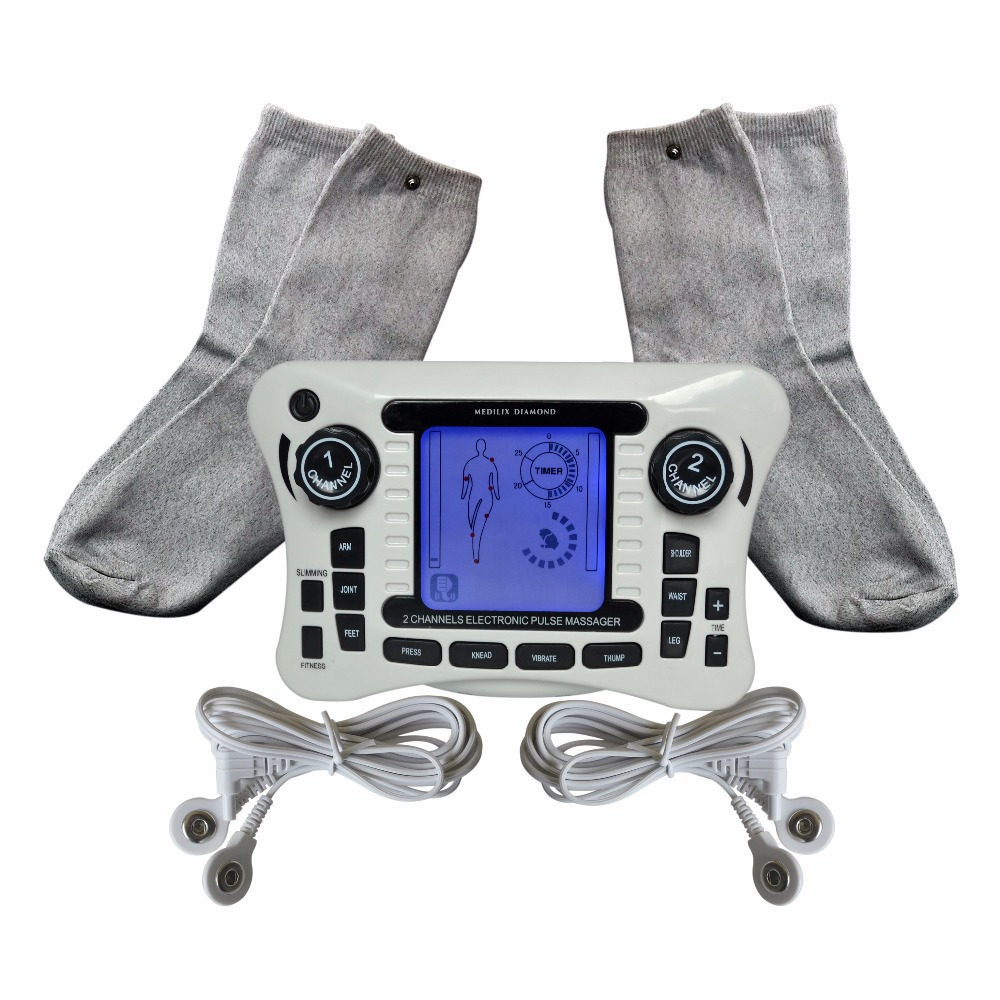 2017New Electrical TENS Therapy Massager Muscle Stimulator Body Relax Machine+2Pairs Electrode Conductive Socks For Healthcare electrical stimulator muscle massager slipper electrode pads body relax pulse tens acupuncture therapy digital machine