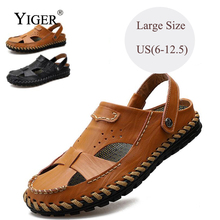 YIGER New Man Sandals Genuine Leather Men Leisure Large Size Beach Black/Brown Sewing men shoes 0083